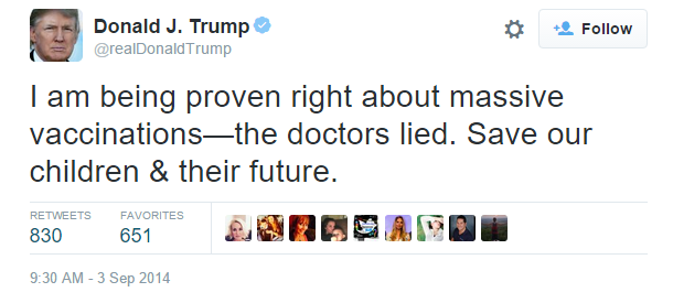 Donald Trump - Anti-Vaxxer Comments on Twitter